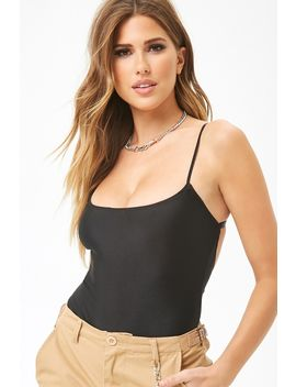 Stretch Knit Scoop Cami Bodysuit by Forever 21