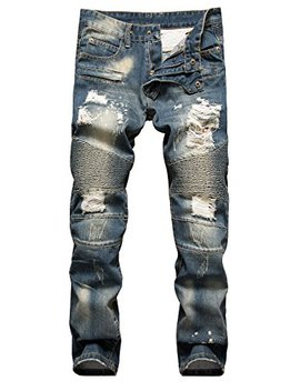 Nitagut Men's Ripped Slim Straight Fit Biker Jeans With Zipper Deco by Nitagut