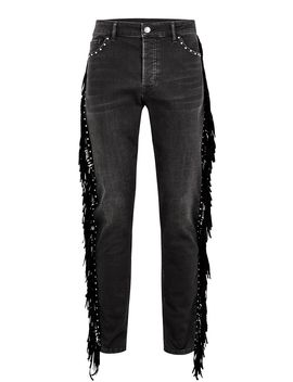 Black Studded Fringed Spray On Jeans by Topman