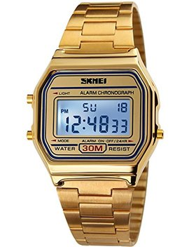 Pasoy Men's Digital Gold Stainless Steel Watch Backlit Multifunction Stopwatch Waterproof Sport Watches by Pasoy