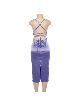 Harajuku Vintage Retro Sexy Backless Purple Solid Halter Women Long Dresses Yq 802 by Your Focus