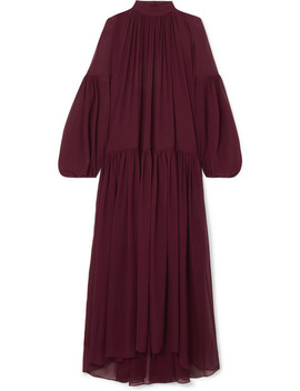 Oversized Gathered Silk Chiffon Maxi Dress by Stella Mc Cartney
