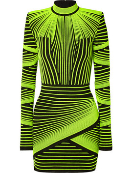 Neon Ribbed Stretch Knit Mini Dress by Balmain