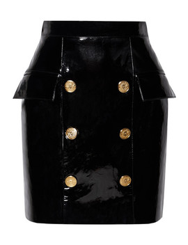 Button Embellished Patent Leather Mini Skirt by Balmain