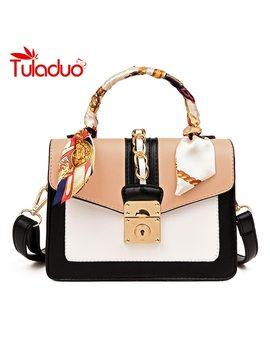 Famous Brand Small Women Messenger Bags Patchwork Shoulder Bags Ladies Crossbody Bag For Girl Fashion Handbags Lock Sac A Main by Tu Laduo