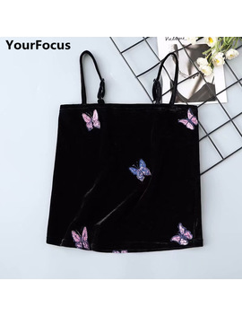 Harajuku Vintage Retro Old School Velvet Black Butterfly Pattern Embroidery Crop Top Crop Camis Yq 812 by Your Focus