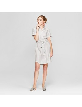 Women's Striped Short Sleeve Shirtdress   A New Day™ Gray by A New Day™