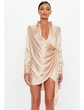Peace + Love Gold Textured Satin Wrap Dress by Missguided