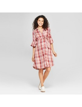 Maternity Plaid Bell Sleeve Woven Tie Waist Shirtdress   Isabel Maternity By Ingrid & Isabel™ Rose by Isabel Maternity By Ingrid & Isabel
