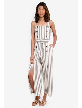 Button Striped Jumpsuit by Topshop