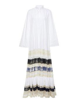 Lace Trimmed Cotton Maxi Dress by Tory Burch