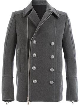 Zipped Double Breasted Coat by Balmain