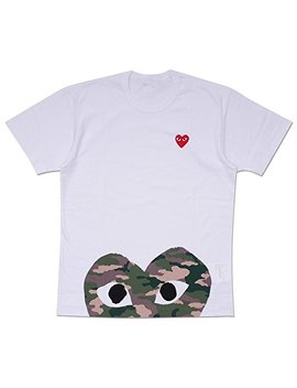 18 Comme Des Garcons Cdg Play Men's T Shirt Camouflage Love Heart Short Sleeved by Daki