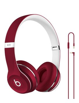 Refurbished Red Beats Solo2 Luxe Edition Wired On Ear Headphones by Beats By Dre