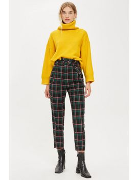Tall Textured Check Tapered Trousers by Topshop