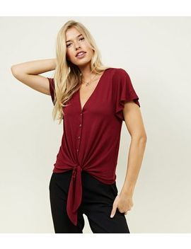 Tall Burgundy Tie Front Button Through T Shirt by New Look