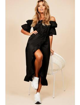Off The Shoulder Frill Wrap Dress by Boohoo