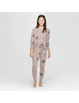 Women's Cozy Pajama Set   Xhilaration™ Tan by Xhilaration™
