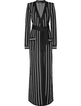 Belted Striped Stretch Knit Cardigan by Balmain
