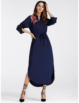 Embroidered Rose Applique Side Split Belt Dress by Romwe