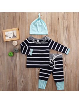 3 Pcs Newborn Kid Baby Boy Girl Striped T Shirt Tops Pants Hat Clothes Outfit Set by Unbrand