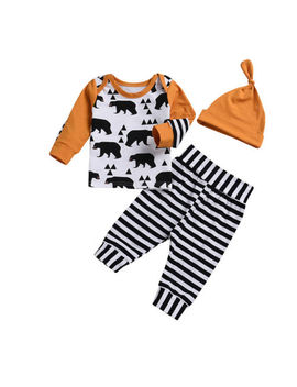 Infant Newborn Kids Baby Boy Girls Bear Tops T Shirt Striped Pants Outfits Set by Unbranded