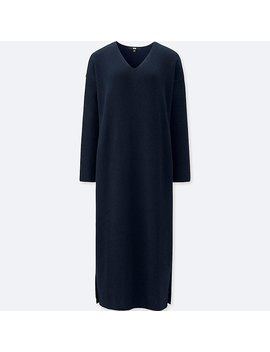 Women Ribbed V Neck Long Sleeve Knit Dress by Uniqlo