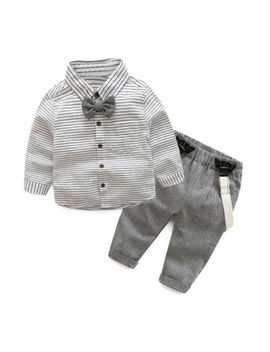 Newborn Boy Clothing Cotton Gentleman Bow Tie Striped Shirt+Overalls Baby Set by Unbranded