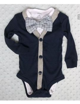 Baby Infant Newborn Boys Bow Tie Long Sleeve Outfits Clothes Jumpsuit 2 Pcs Suits by Unbranded