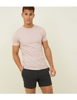 Black Pin Stripe Jersey Shorts by New Look
