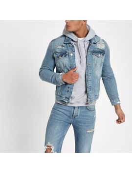 Blue Classic Fit Ripped Denim Jacket by River Island