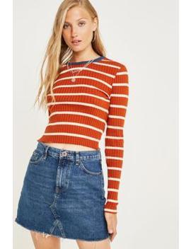 Bdg Austin Indigo Notched Denim Mini Skirt by Bdg