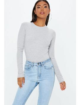 Grey Crew Neck Ribbed Bodysuit by Missguided