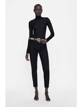 Zw Premium High Waist Satin Molecule Black Jeans  New Inwoman by Zara