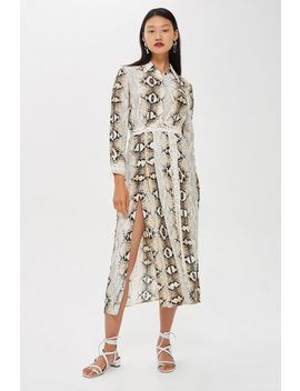 Faux Snake Print Pleated Shirt Dress by Topshop
