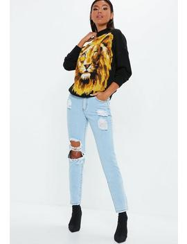 Black Lion Graphic Knitted Jumper by Missguided