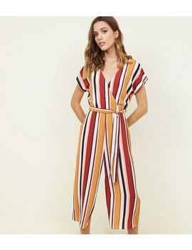 White Multi Stripe Belted Culotte Jumpsuit by New Look