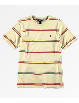 Volcom Boys Sheldon Cream Striped T Shirt by Volcom