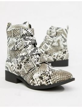 Qupid Studded Flat Ankle Boots by Shoes