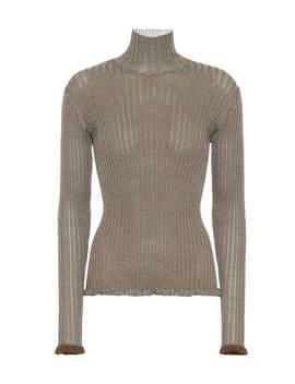 Metallic Ribbed Silk Blend Sweater by Chloé