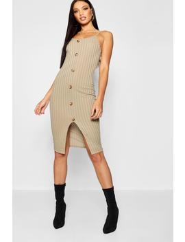 Horn Button Rib Knit Midi Dress by Boohoo