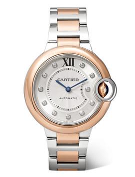 Ballon Bleu De Cartier 33mm 18 Karat Pink Gold, Stainless Steel And Diamond Watch by Cartier