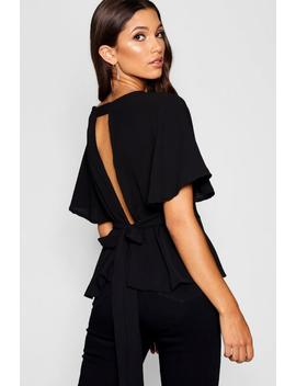 Peplum Plunge Open Back Blouse by Boohoo