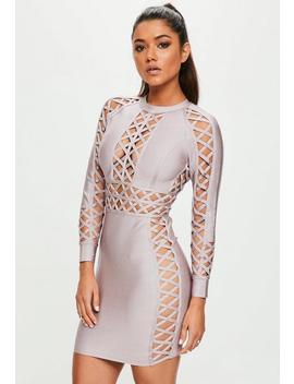 Purple Lattice Detail Bandage Dress by Missguided