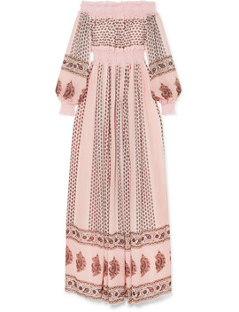 Off The Shoulder Shirred Lace Trimmed Printed Silk Georgette Gown by Giambattista Valli