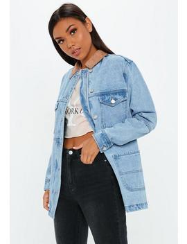 Blue Denim Stonewash Suedette Collar Jacket by Missguided