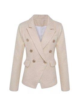 Balmain Inspired Cream/Gold Tweed Blazer by Blairapparel