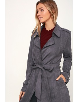 Morning Chill Blue Grey Suede Trench Coat by Lulus