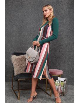 Erina Mauve Multi Stripe Belted Midi Slip Dress by Lulus
