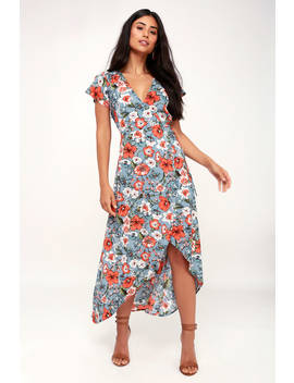 Hazel Light Blue Floral Print Satin High Low Wrap Dress by Sage The Label